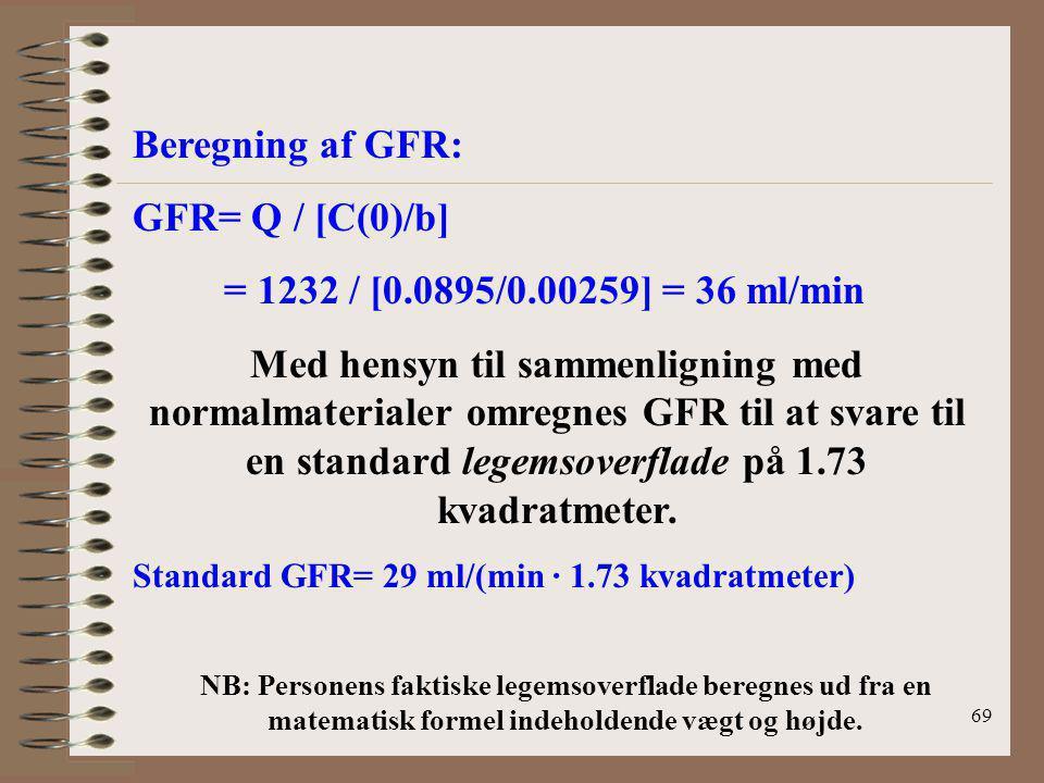 Beregning af GFR: GFR= Q / [C(0)/b]